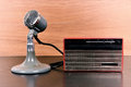 Vintage radio and retro microphone Royalty Free Stock Photo
