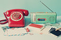 Vintage radio and telephone Royalty Free Stock Photo