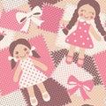 Vintage rag dolls seamless pattern Royalty Free Stock Photo