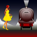 Vintage rail travel background with an art deco style steam locomotive and girl in a yellow dress Royalty Free Stock Photos