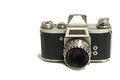 Vintage rangefinder camera on white background Stock Photos