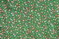 Vintage real fabric 1960s cotton emerald green with red roses and yellow flower pattern Royalty Free Stock Photo