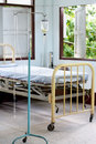 Vintage recovering room and saline solution bottle old in hospital Stock Photos