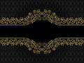 Vintage rectangular frame with curls on a black background a pattern Stock Images