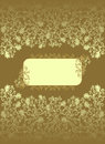 Vintage rectangular frame with ocher color decor and floral designs on a brown background Stock Photography