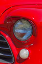 Vintage red american truck headlights closeup of a Royalty Free Stock Photography