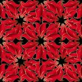 Vintage red 3d flowers vector seamless pattern. Beautiful orname