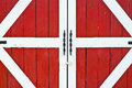 Vintage red farm wooden door Stock Photography