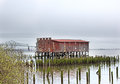 Vintage Red Fishing Net Drying Shed Royalty Free Stock Photo