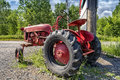 Vintage red Old Tractor Royalty Free Stock Photo