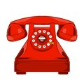 Vintage Red Phone with Buttons Dial Ring isolated on a white background. Monochromatic line art. Retro design. Royalty Free Stock Photo