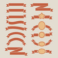 Vintage red plain banners set on beige background Royalty Free Stock Photography