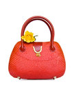 Vintage red straw bag Stock Photo