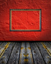 Vintage red terracotta interior with classic frame Royalty Free Stock Images
