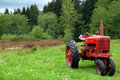 Vintage Red Tractor Royalty Free Stock Photo