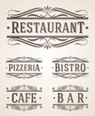 Vintage restaurant and cafe signs labels Royalty Free Stock Photography