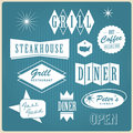 Vintage restaurant logo, badges and labels Royalty Free Stock Photos
