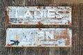 Vintage restroom signs