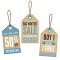 Vintage retail labels a set of with a winter theme Royalty Free Stock Image