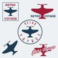 Vintage retro aeronautics flight badges and labels set of Royalty Free Stock Photography