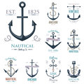 Vintage retro anchor badge vector sign sea ocean graphic element nautical anchorage symbol illustration Royalty Free Stock Photo