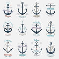 Vintage retro anchor badge vector sign sea ocean graphic element nautical naval illustration Royalty Free Stock Photo