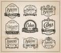 Vintage retro bakery label set editable vector design Stock Images