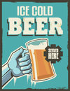 Vintage retro beer poster vector design sign ice cold with removable grunge texture effect Royalty Free Stock Photos