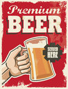 Vintage retro beer poster vector design sign premium with removable grunge texture effect Stock Image