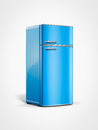 Vintage retro blue refrigerator Lizenzfreie Stockbilder