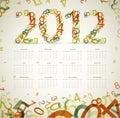 Vintage retro calendar 2012 Stock Photo