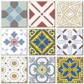 Vintage retro ceramic tile pattern set collection 039