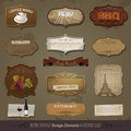 Vintage and retro design elements old papers labels eps Stock Image