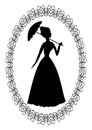 Vintage retro drawing with silhouette of rococo lady with umbrella in fine oval lace frame. Decoration for ball invitation