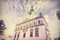 Vintage retro filtered photo of town hall in Chelmno, Poland Royalty Free Stock Photo