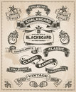 Vintage retro hand drawn banner set Royalty Free Stock Photo