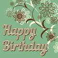 Vintage retro happy birthday card, with fonts, grunge frame and chevrons. Beautiful flowers. Royalty Free Stock Photo