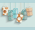Vintage retro happy birthday card with gift boxes Royalty Free Stock Photos