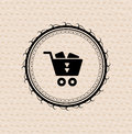 Vintage retro label : shopping cart icon Stock Photography