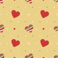 Vintage retro love hearts seamless background Stock Images