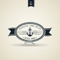 Vintage retro nautical badge with anchor editable eps vector Stock Photography