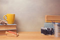 stock image of  Vintage retro objects on wooden desk. Website hero image concept
