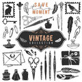 Vintage retro old things writer crafted collection hand drawn vector illustrations vol Royalty Free Stock Images