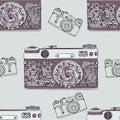 Vintage retro photo camera seamless pattern. Mandala style fabric design. Boho style vector illustration. Royalty Free Stock Photo