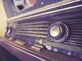 Vintage retro radio tune channel music entertainment close up close up Stock Photo