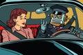 Vintage retro robot autopilot car, woman passenger