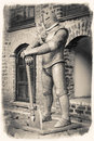 Vintage retro stylized image of medieval knight with axe