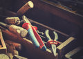 Vintage retro stylized old carpenter tools. Royalty Free Stock Photo