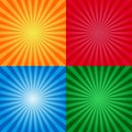 Vintage or retro sunburst background templates. Sunburst yellow red blue and red colors. Burst design Royalty Free Stock Photo