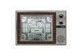 Vintage retro tv isolated on the white background Stock Photos